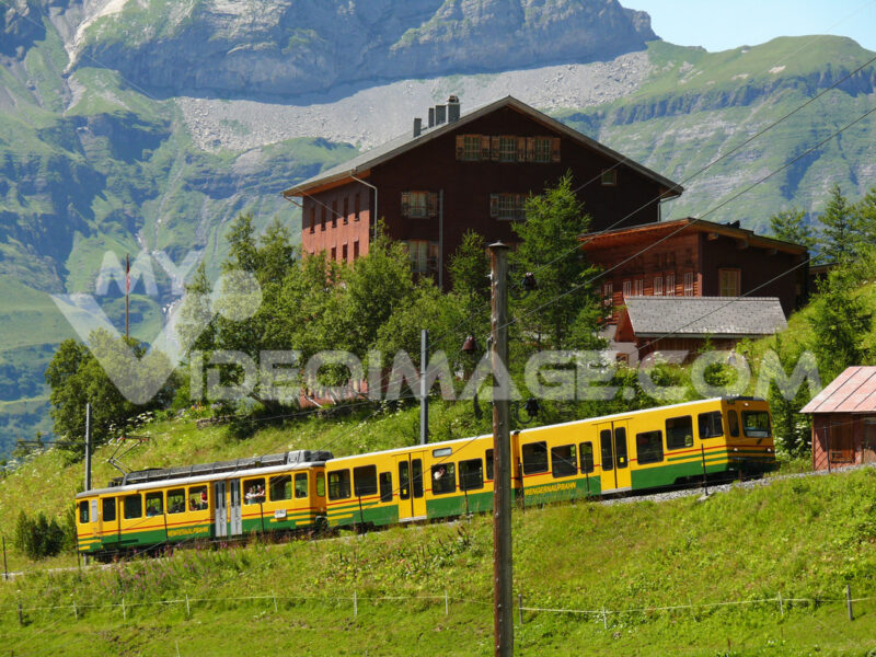Wengen, Switzerland. 08/04/2009. Rack railway leading to the Jungfraujoch. Treno. Foto Svizzera. Switzerland photo