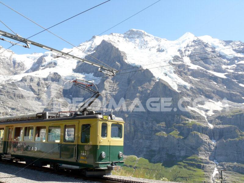 Wengen, Switzerland. 08/04/2009. Rack railway leading to the Jungfraujoch. Foto Svizzera. Switzerland photo