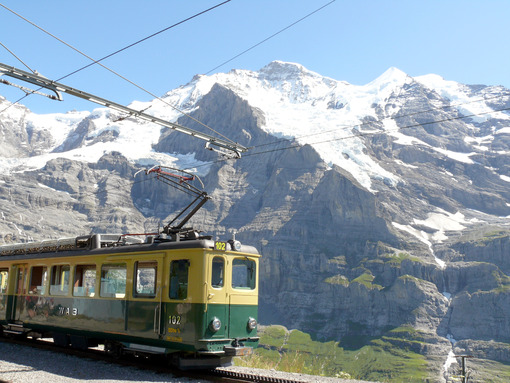 Wengen, Switzerland. 08/04/2009. Rack railway leading to the Jungfraujoch. Foto Svizzera. Switzerland photo