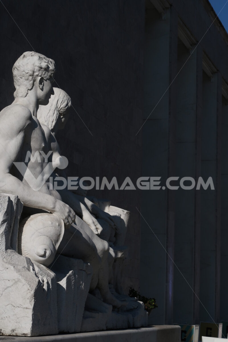 White Carrara marble sculptures at the royal palace at the Santa Maria Novella station in Florence. - MyVideoimage.com