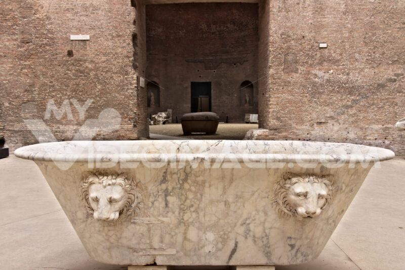 White marble bathtub at the Baths of Diocletian in Rome. - LEphotoart.com