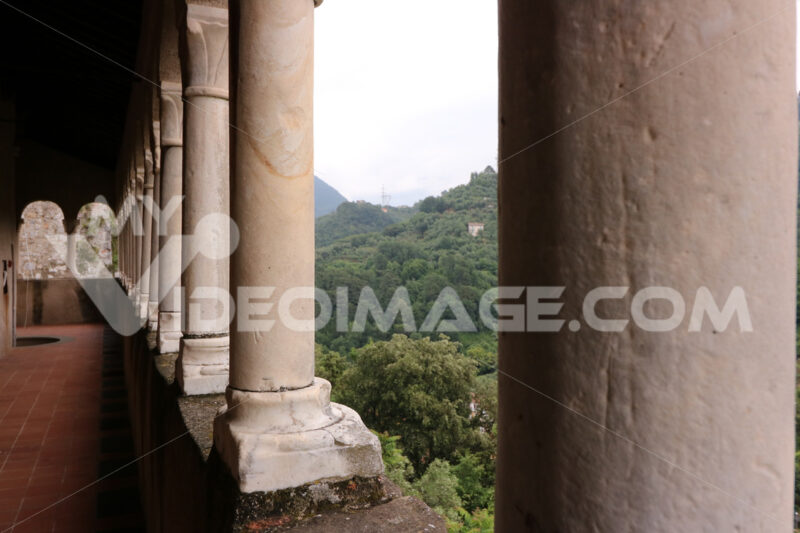 White marble walkway with columns in the Malaspina castle in Massa. - MyVideoimage.com