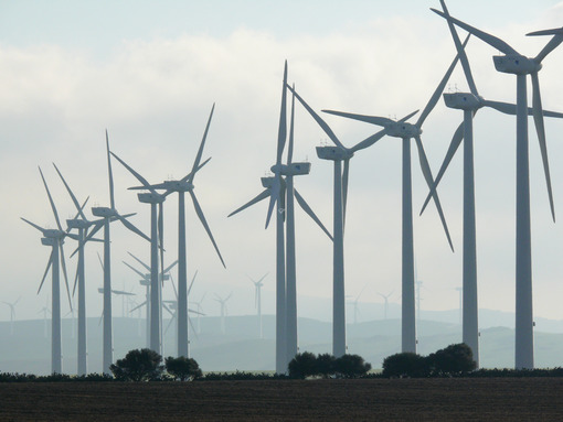 Wind farm with high blades - MyVideoimage.com