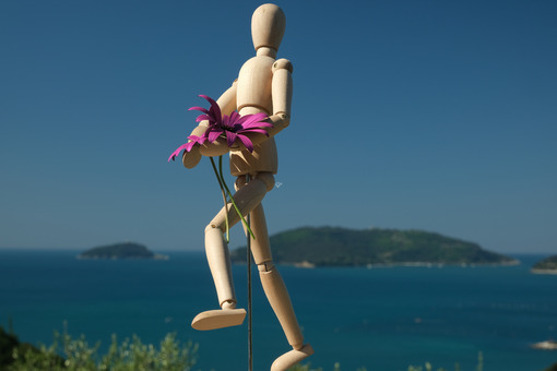 Wooden mannequin carries flowers of red daisies. Ligurian sea with islands of the Gulf of La Spezia and model. - MyVideoimage.com