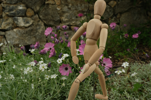 Wooden mannequin in the midst of spring flowers. Mediterranean garden with daisy with white and pink flowers and rotating model. - MyVideoimage.com